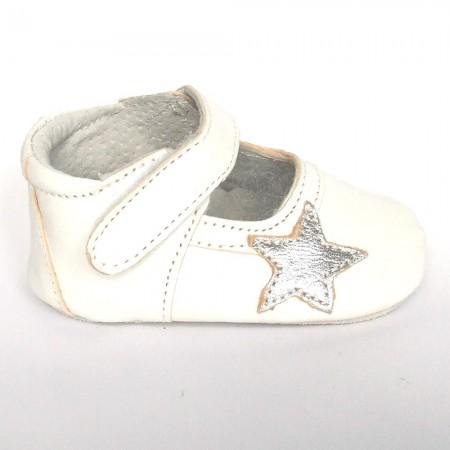 Babyslofjes Leren babyslofje Blossom Star White €19,49