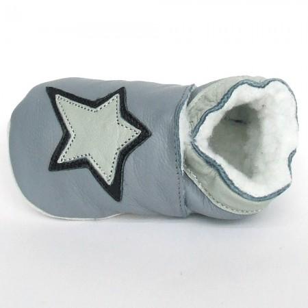 Babyslofjes Slofjes leer gevoerd - Artic Star Stone €19,99