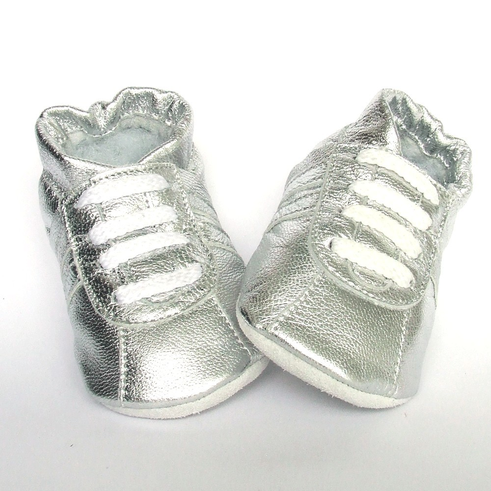 Babyslofjes Leren babyslofjes zilver Sport Shiny Silver €17,49