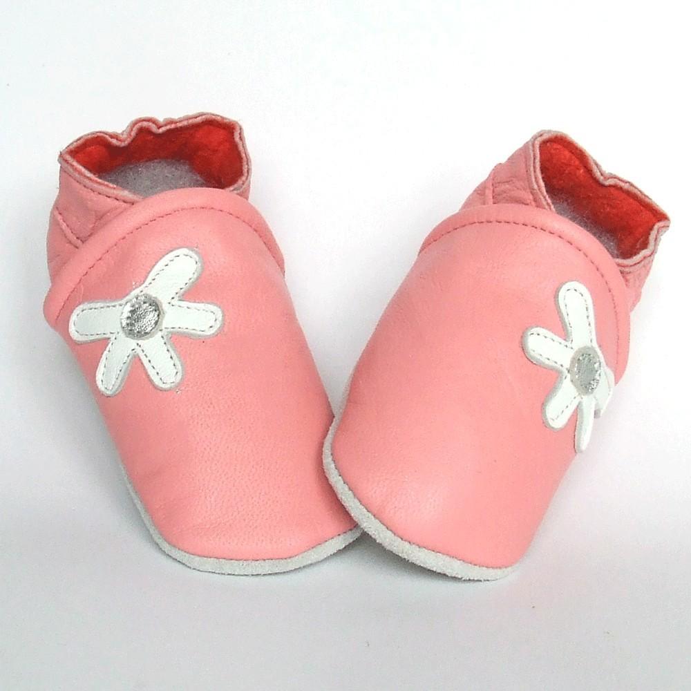 Leren baby slofjes Daisy Pink