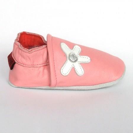 Babyslofjes Leren baby slofjes Daisy Pink €16,49