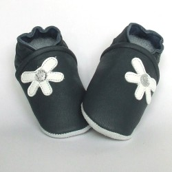 Babyslofjes Leren baby slofjes Daisy Blue €16,49