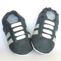 Babyslofjes Leren babyslofjes Retro Stone Grey €17,49
