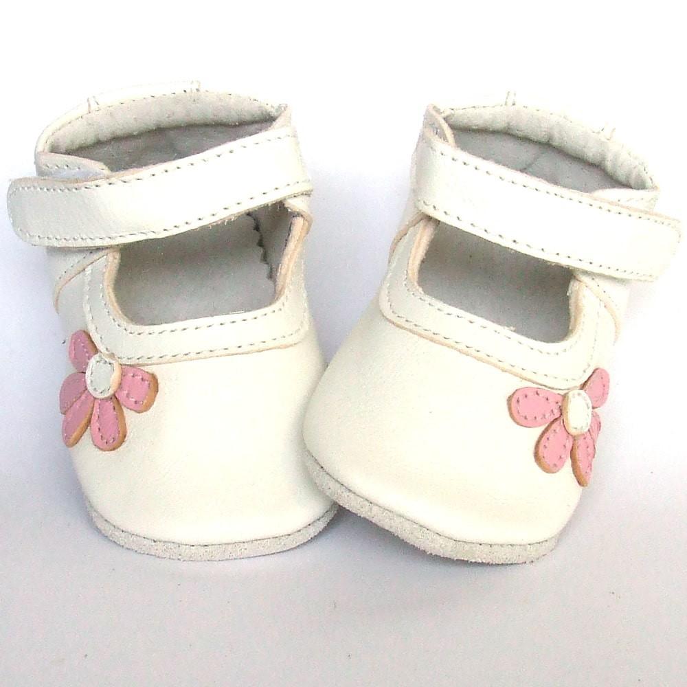 Leren babyslofje Blossom White Pink