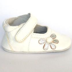 Babyslofjes Leren babyslofje Blossom White Silver €19,49