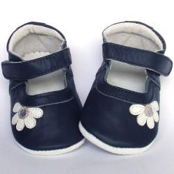 Babyslofjes Leren babyslofje Blossom Marine White €19,49