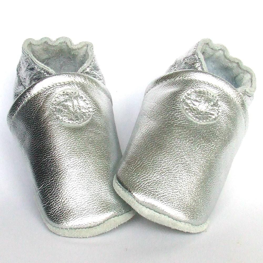 Leren slofje Basic Shiny Silver