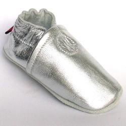 Babyslofjes Leren slofje Basic Shiny Silver €16,99