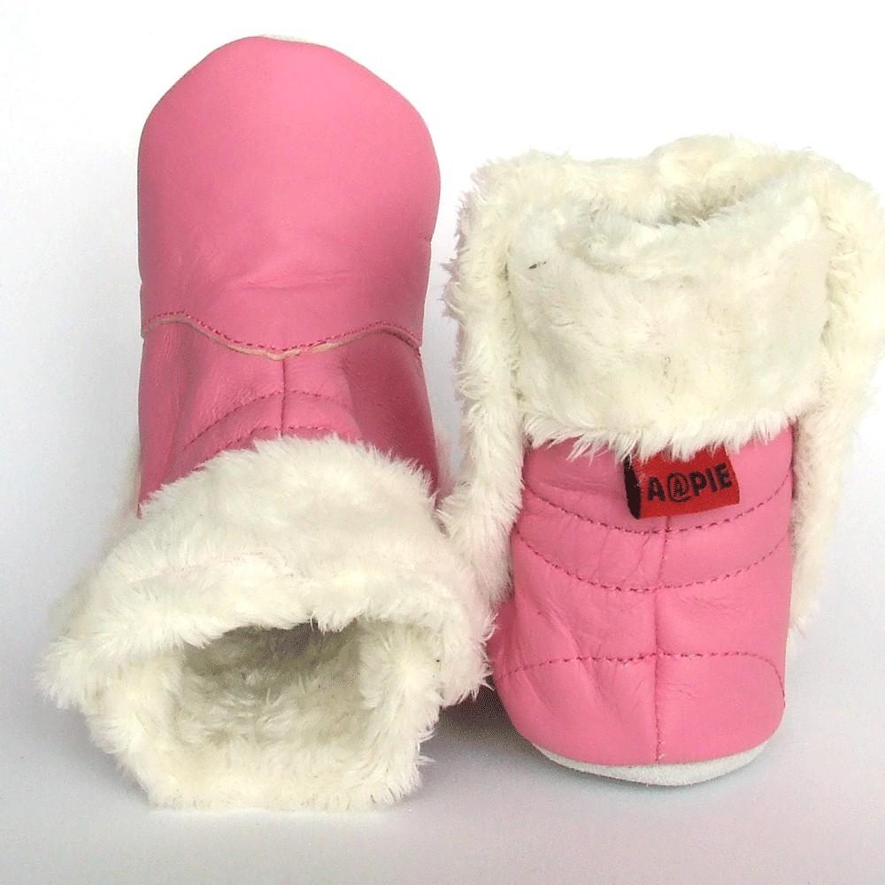 Babylaarsjes leer Eskimo Pink