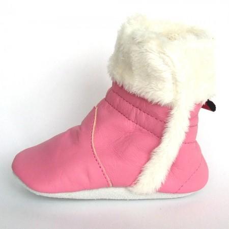 Babyslofjes Babylaarsjes leer Eskimo Pink €22,99