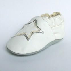 Babyslofjes Leren slofjes Star White €15,99