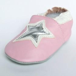 Babyslofjes Leren slofjes Star Pink €15,99