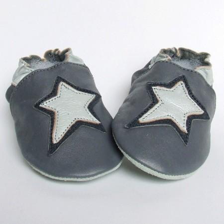 Babyslofjes Leren slofjes Star Grey €15,99