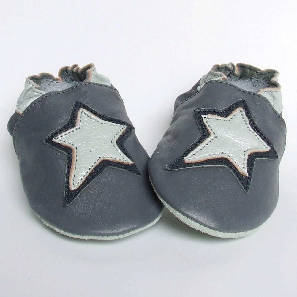Leren slofjes Star Grey