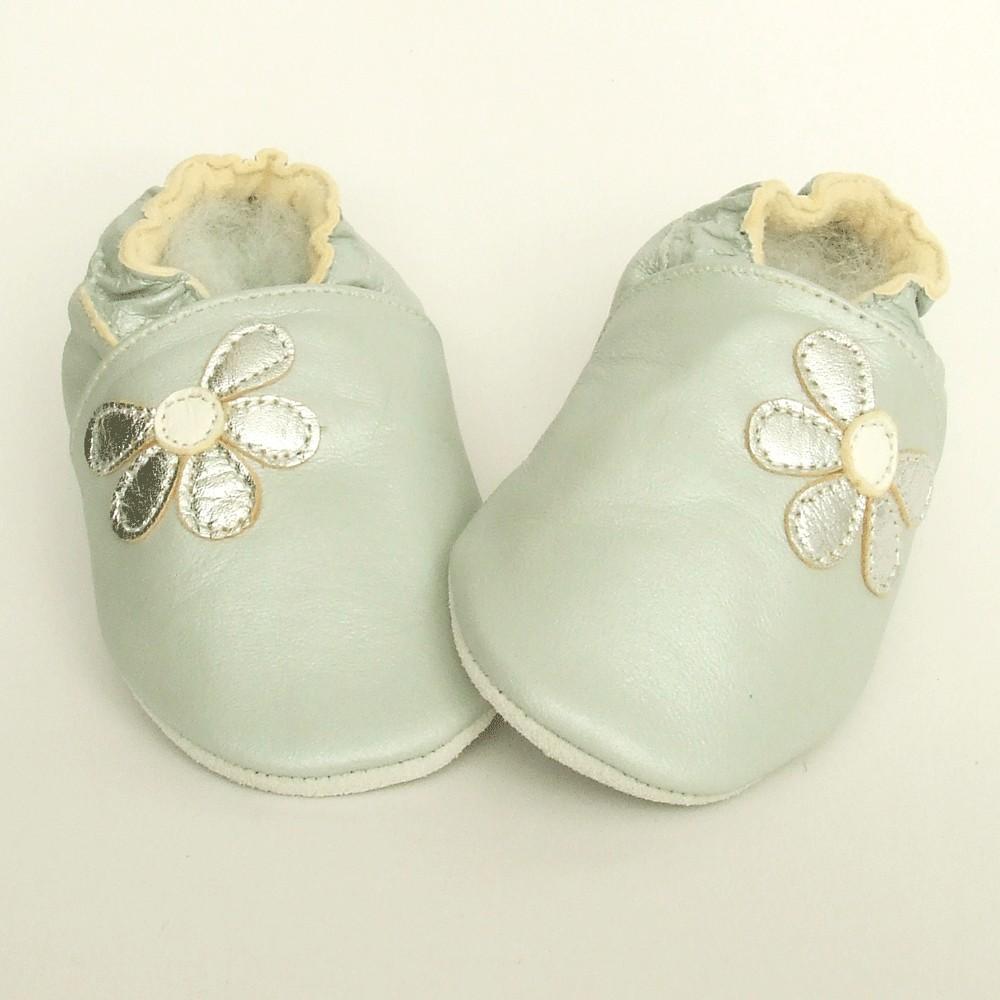Leren baby slofjes Half Flower Silver