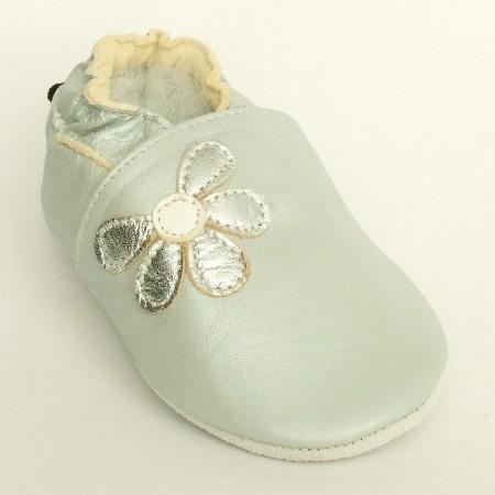 Babyslofjes Leren baby slofjes Half Flower Silver €15,99