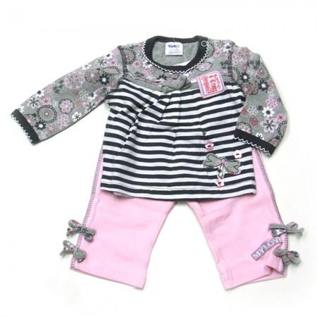 Babykleding 2 delig pakje 'My Love' grijs/roze €14,95