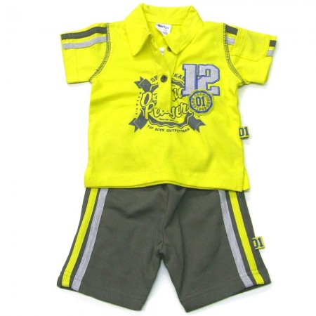 Babykleding 2 delig setje 'Original Players' geel €14,95