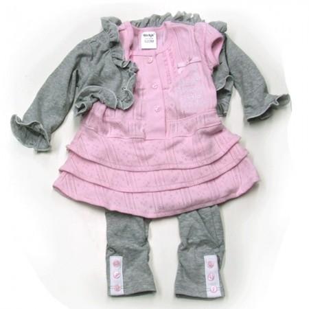 Babykleding 3 delig pakje 'Most Fabulous' rose/grijs €22,50