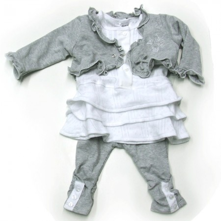 Babykleding 3 delig pakje 'Most Fabulous' wit/grijs €22,50