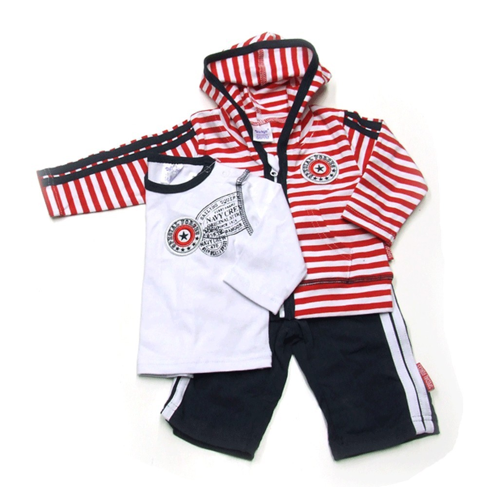 Babykleding 3 delig pakje 'Special forces' rood/wit €24,95