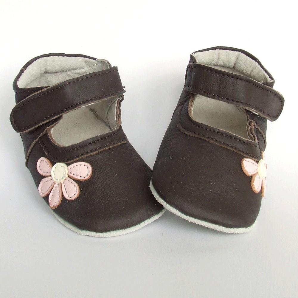 Leren babyslofje Blossom Brown Pink