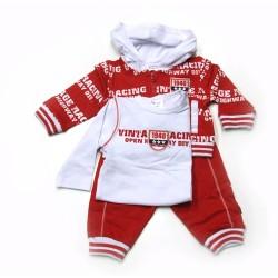 Babykleding 3 delig pakje 'Vintage racing' rood/wit €24,95