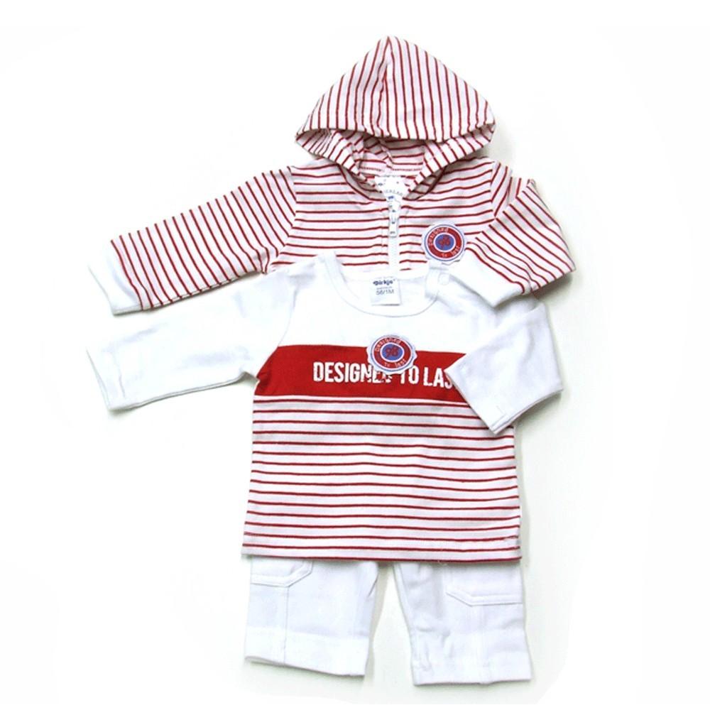 Babykleding 3 delig pakje 'Vintage' rood/wit €24,95