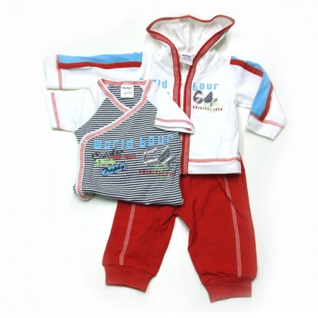 Babykleding 3 delig pakje 'World tours' wit/rood € 22,50