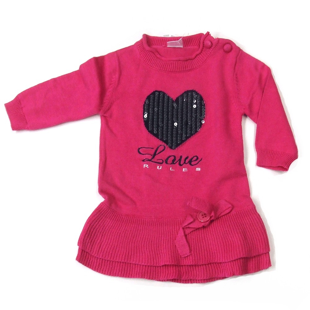 Tuniek 'Love Rules' fuchsia