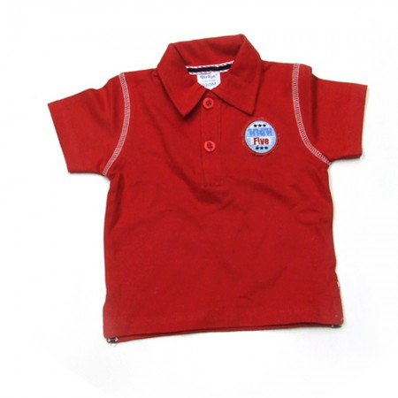 Babykleding Polo 'High five' rood € 9,95