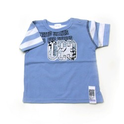 Babykleding T-shirt 'International 1979' blauw € 6,95